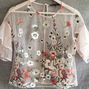 Sheer crop top with embroided flowers